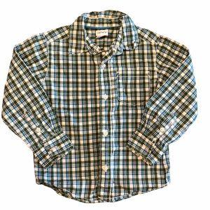 Carters Green & Blue Plaid Button Up Shirt-SZ 3T